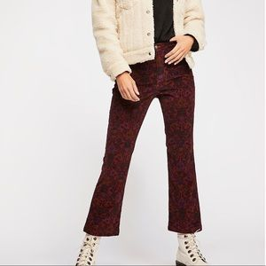 Free People Printed Crop Flare cord Jeans 0 NWT